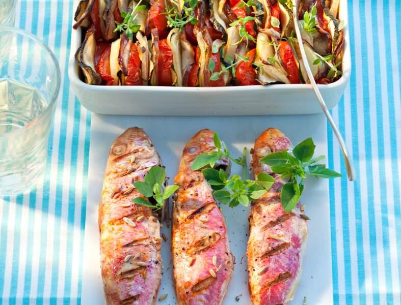 Rougets grillés, tian de légumes