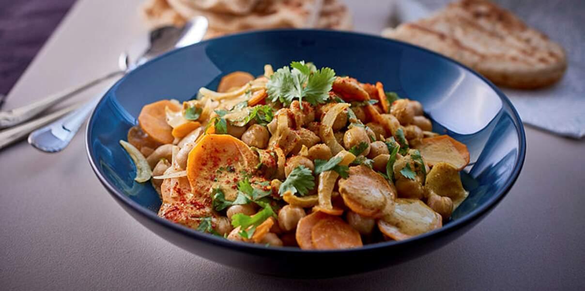 Curry de pois chiches et ses naans