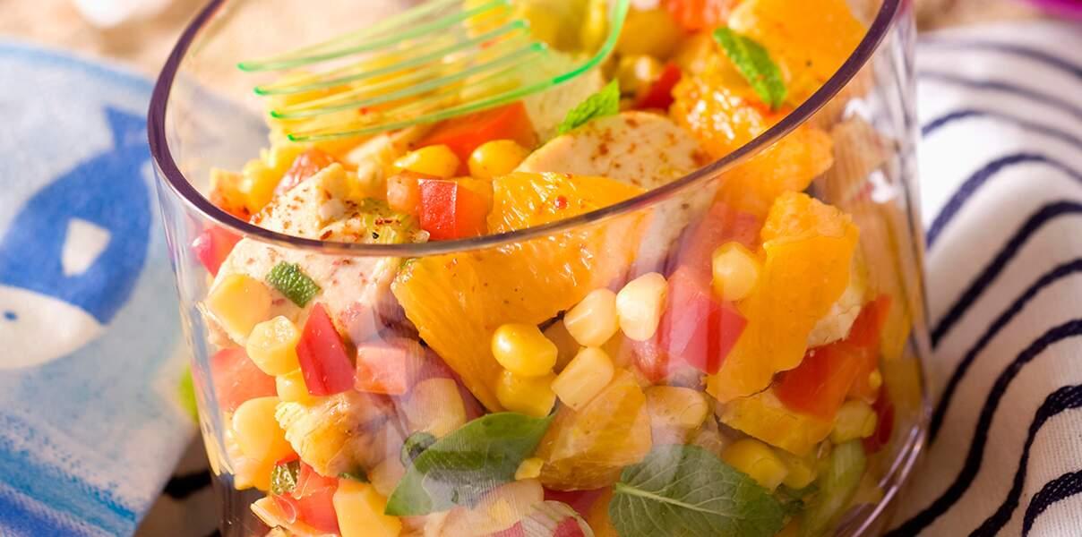 Salade de poulet au curry, à l'orange et à la menthe