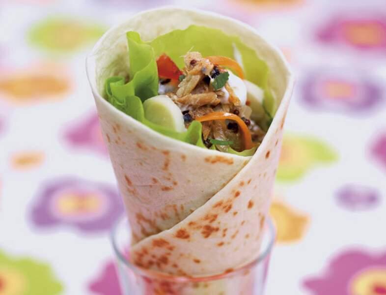 Cornets de salade paradis à l'émietté de maquereaux en conserve