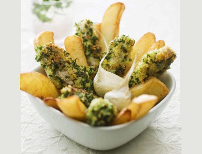 Bâtonnets de veau croustillants à l'ail et au persil et frites maison