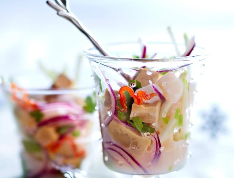 Ceviche de foie gras et saint-jacques au verjus