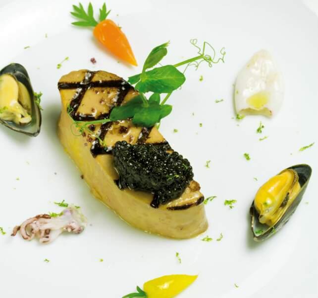 Foie gras, marinière de moule et caviar de Philippe Etchebest