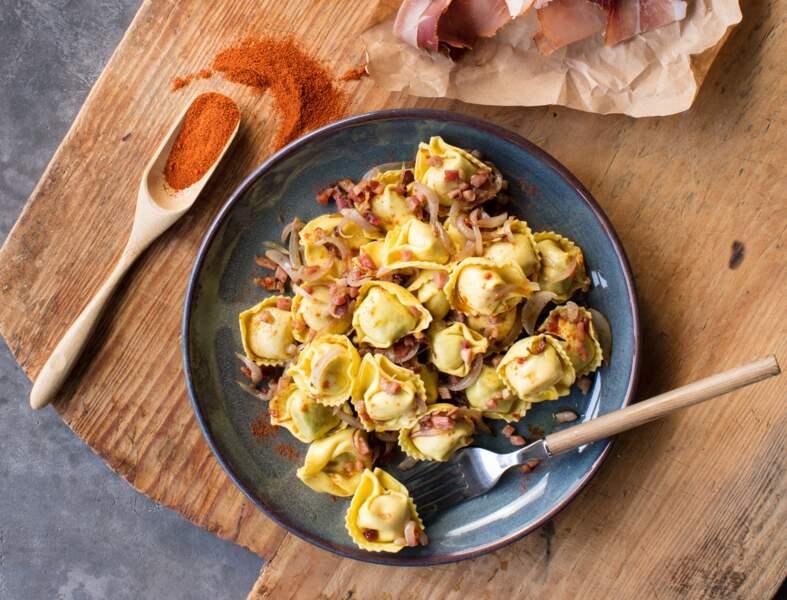 Tortellini bacon, ricotta & mozzarella, speck au whisky et paprika fumé