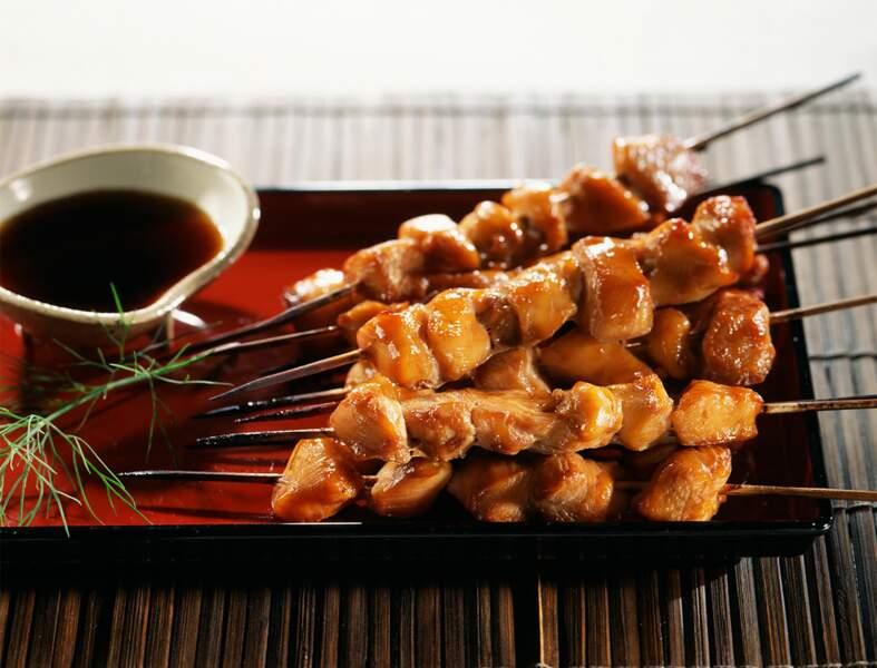 Brochettes de poulet à la sauce soja