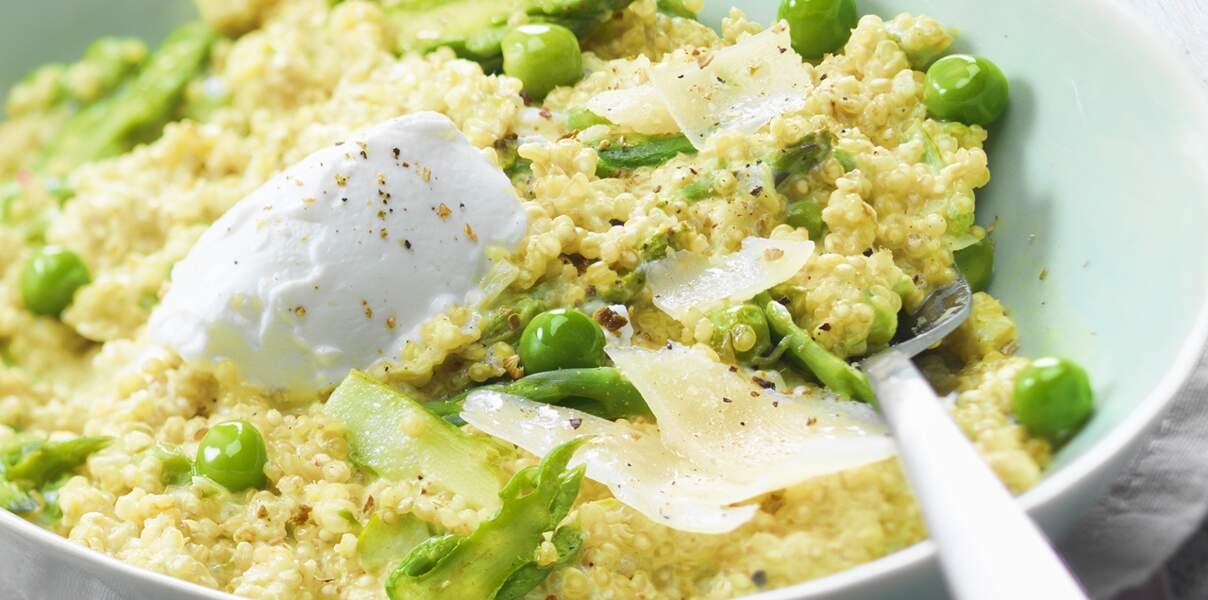 Risotto de quinoa aux asperges, petits pois et chèvre