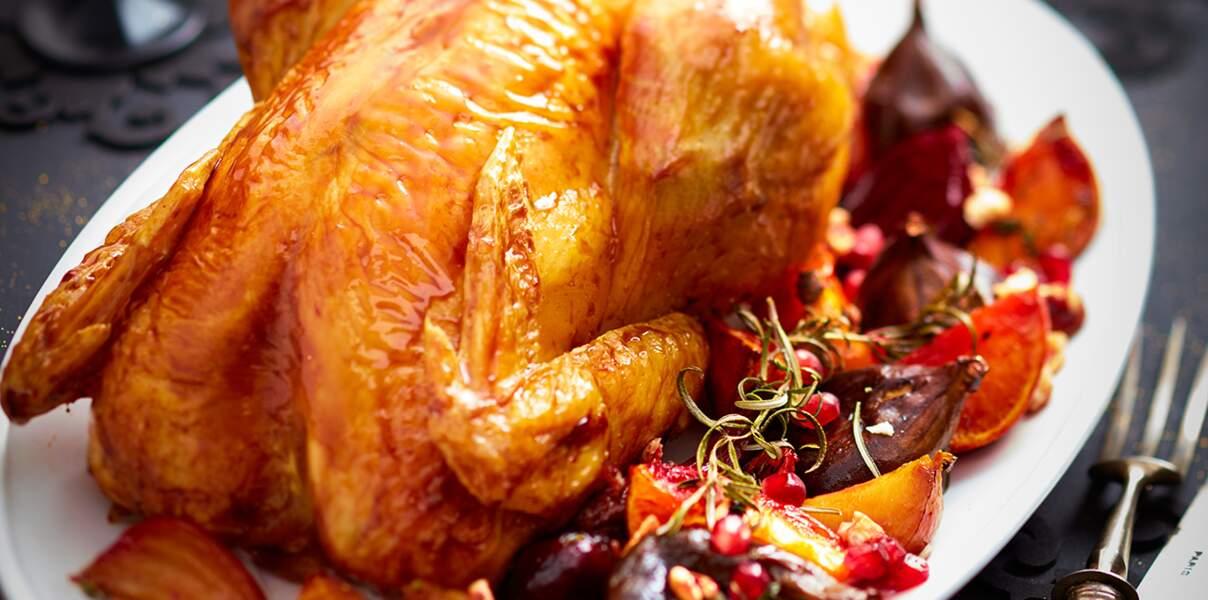 Chapon rôti au vinaigre balsamique, figue et betterave rôties au sirop de grenadine