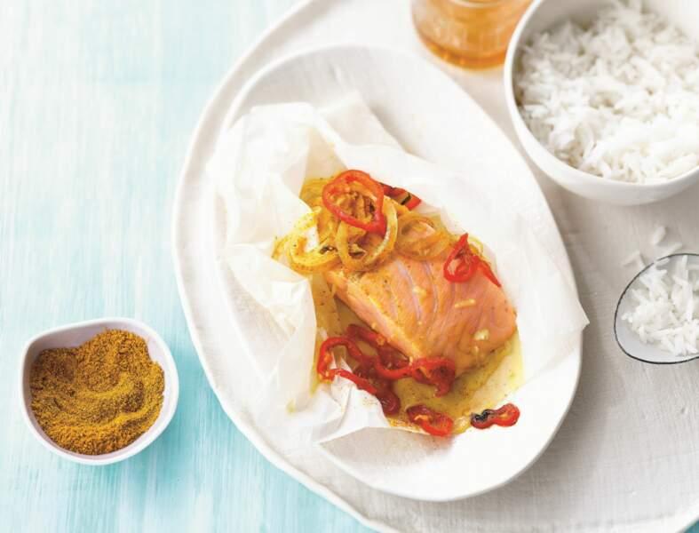 Papillotes de saumon au miel et au poivron