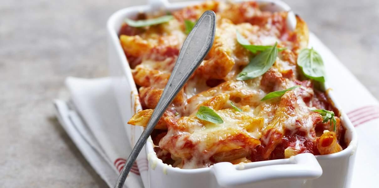 Gratin de pâtes sauce tomate