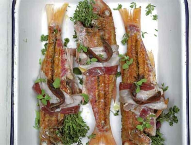 Rougets grillés et rôtis à la pancetta et au thym