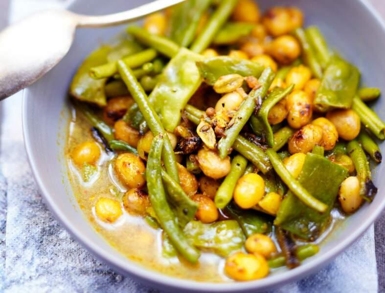 Menu végétarien - Curry aux trois haricots