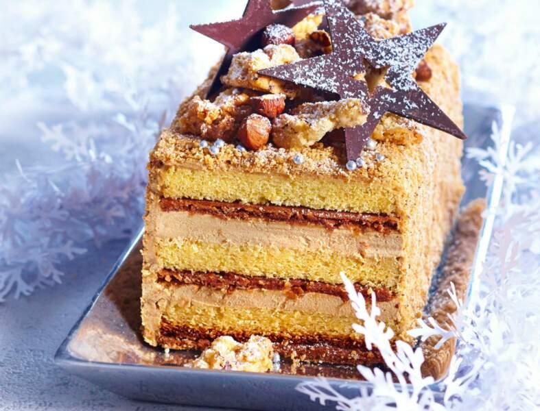 Bûche de Noël praliné-marron