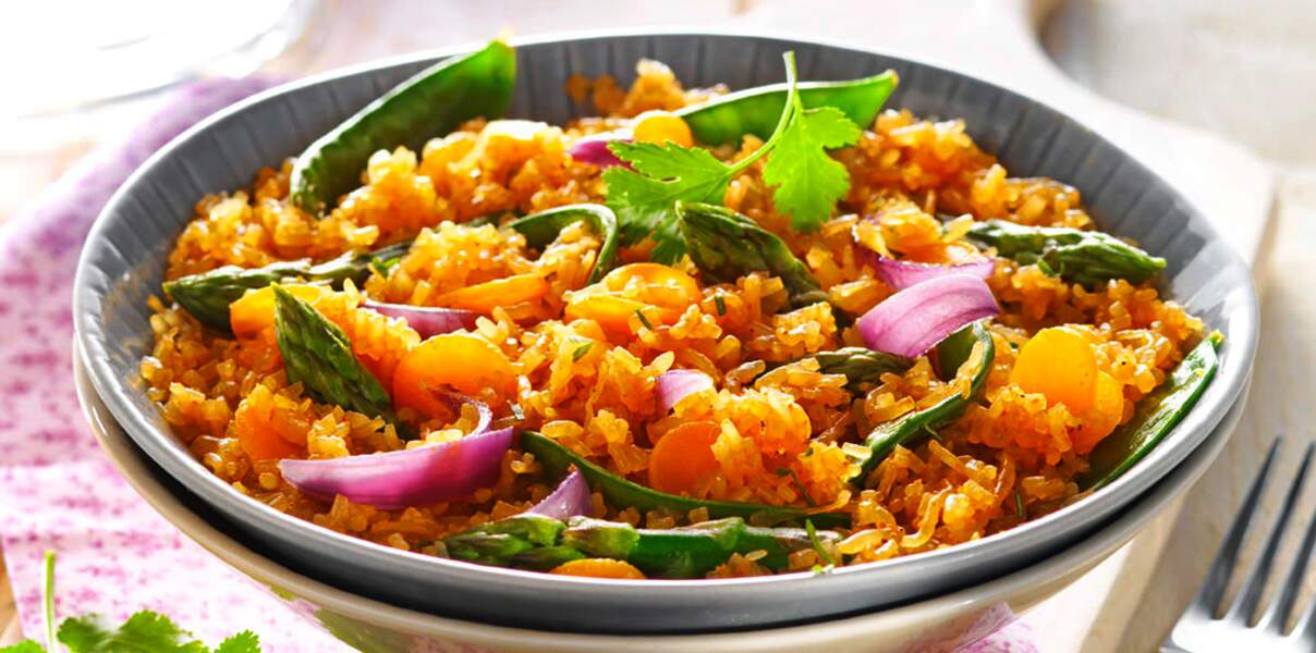 Risotto de konjac et carottes au curry