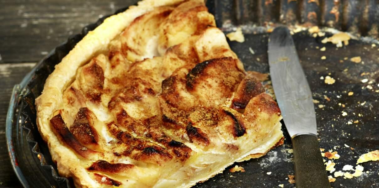 Tarte fine aux pommes et caramel croquant