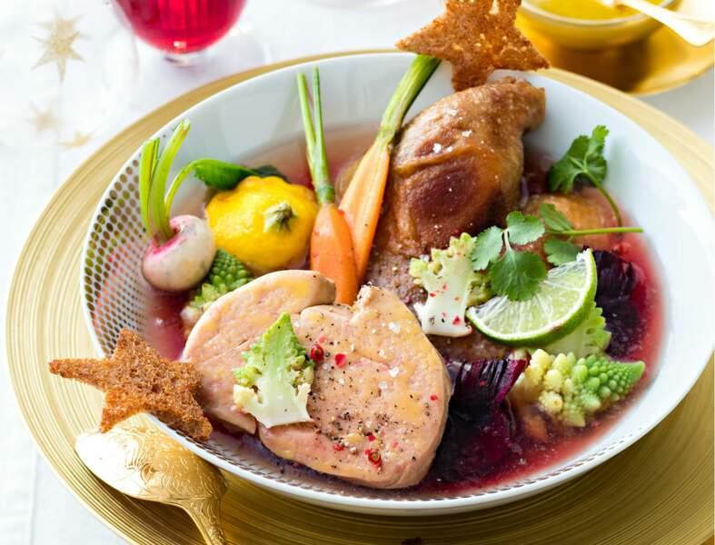 Menu traditionnel - Pot au feu de canard au foie gras, bouillon épicé