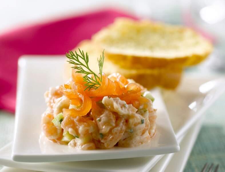 Tartare aux deux saumons, crème à l'aneth