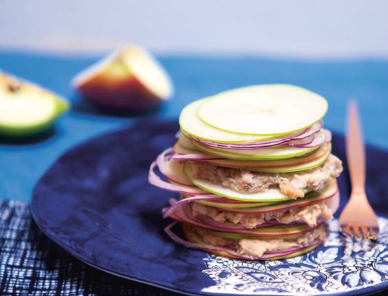 Feuilletés de pommes crues aux rillettes de hareng prêt en 10 minutes