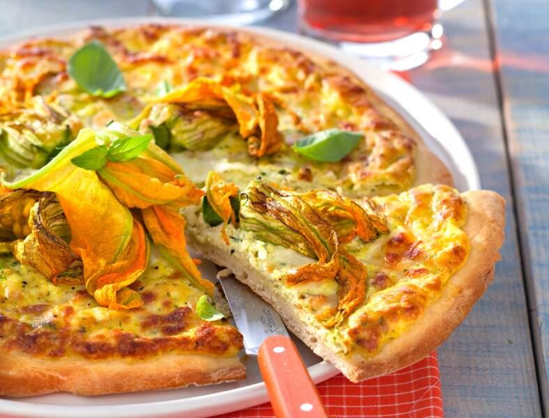 Pizza de printemps aux fleurs de courgette