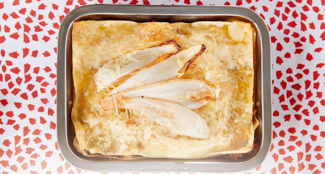 Lasagnes au jambon et endives braisées