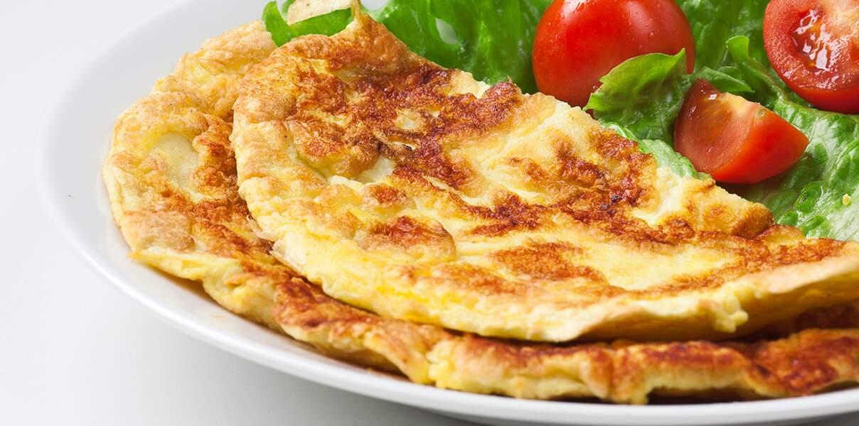 Omelette au chèvre et basilic