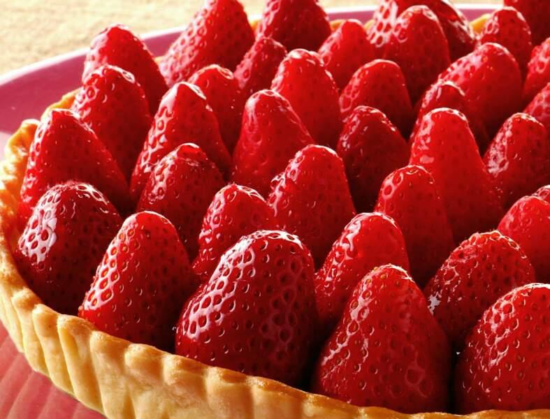 Tarte aux fraises sans crème patissière