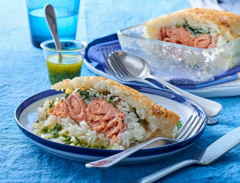 Pavé de saumon en croûte de riz