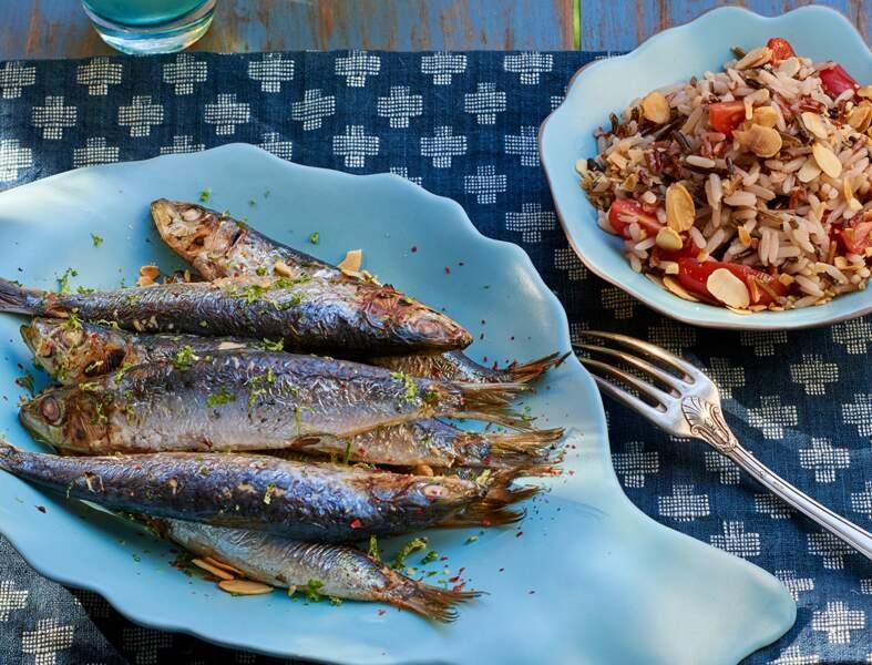 Sardines au citron vert et salade de riz aux amandes