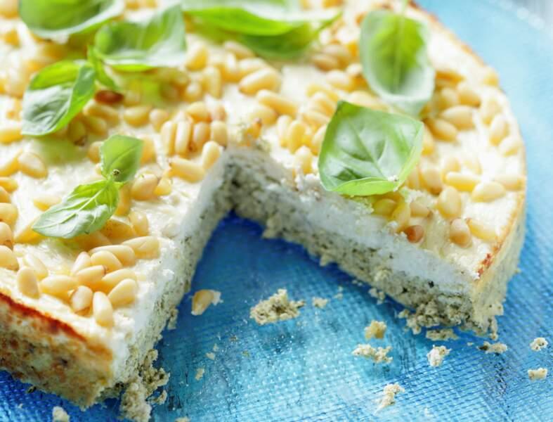 Cheesecake aux pesto et pignons