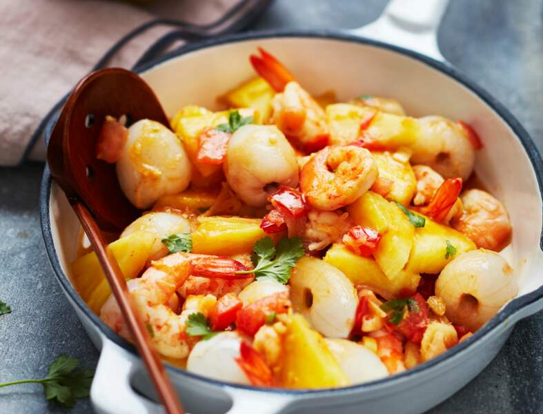 Wok de crevettes litchis-ananas
