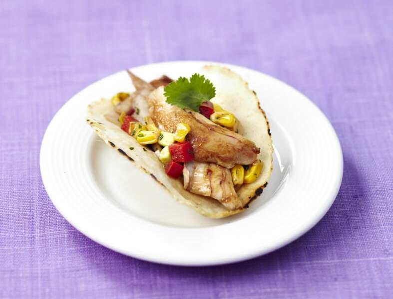 Tacos de lapin, salsa de petits légumes