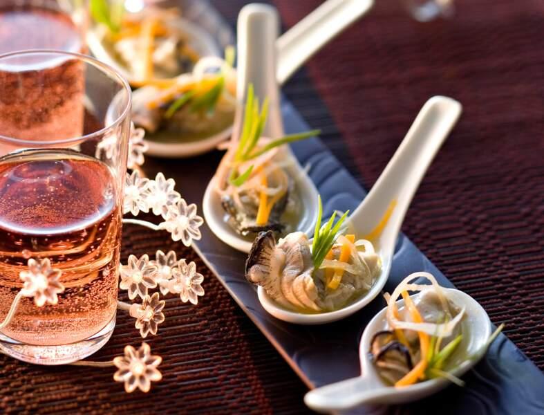 Cuillères d'huîtres aux petits légumes
