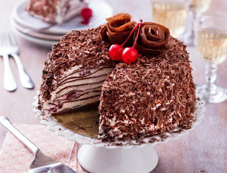 Gâteau de crêpes façon forêt noire comme en Alsace