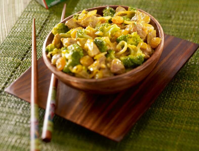 Curry de porc coco au brocoli
