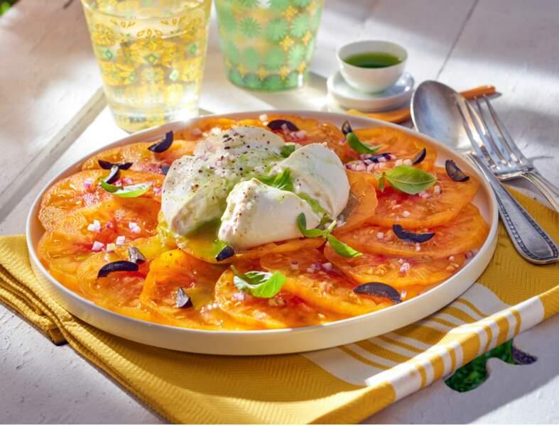 Carpaccio de tomates ananas, petite burrata à l'huile verte