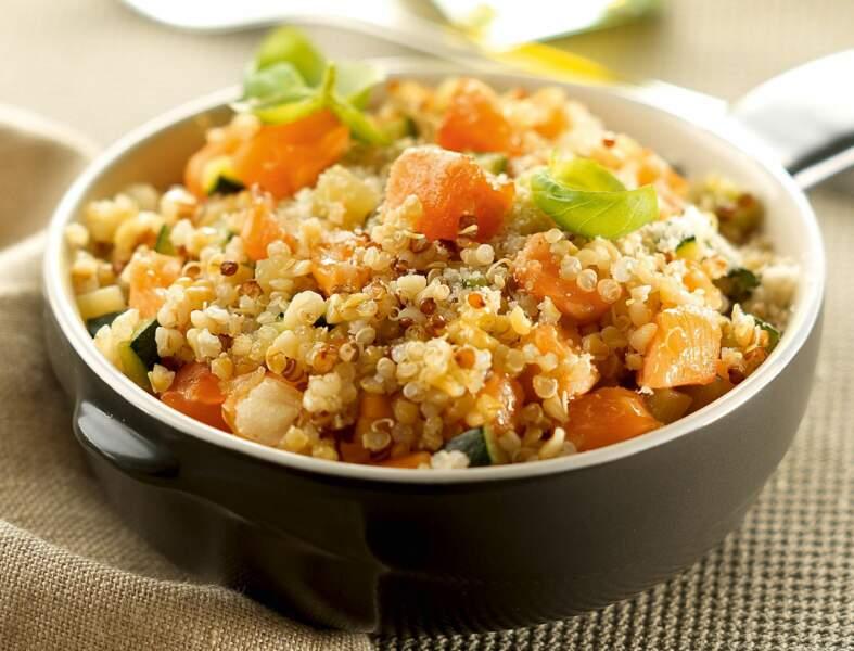 Risotto de quinoa, courgette et saumon