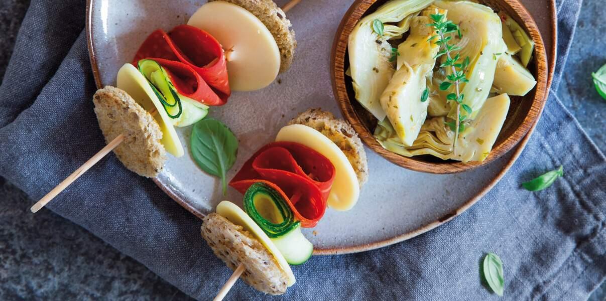Club Sandwich façon brochette veggie