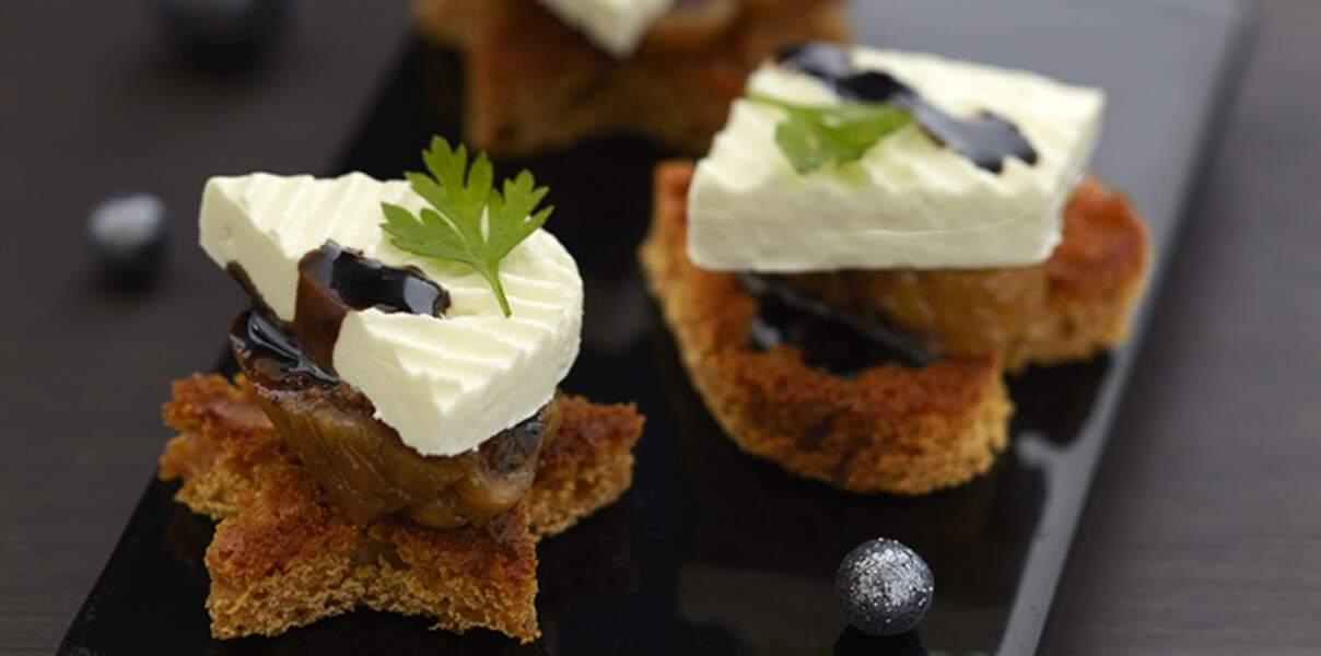 Bouchées de pain d'epices, figues, Caprice des anges et sirop balsamique