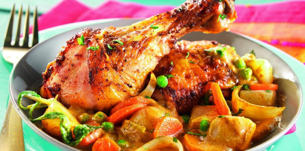 Curry de poulet aux légumes crémeux