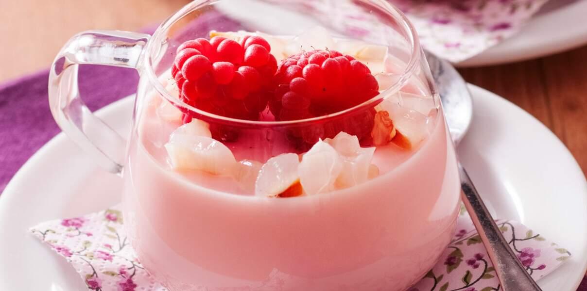 Panna cotta rose-framboise et litchis