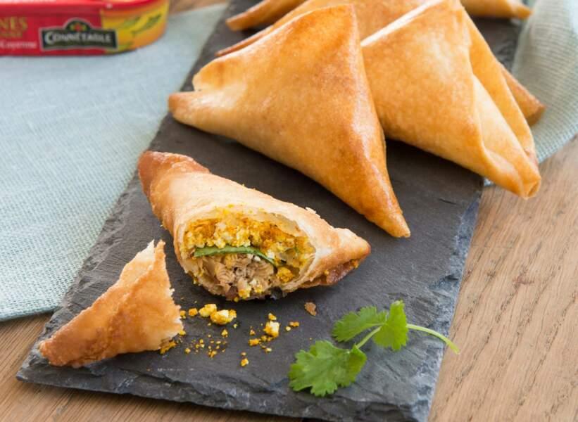 Samossas aux sardines à l'ancienne, au Piment de Cayenne, feta et curry