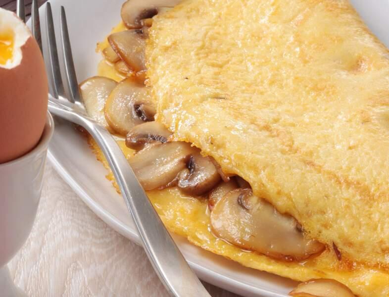 Omelette aux petits champignons de Paris