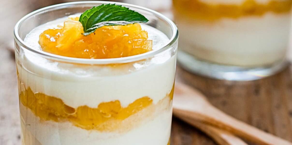 Panna cotta ananas coco
