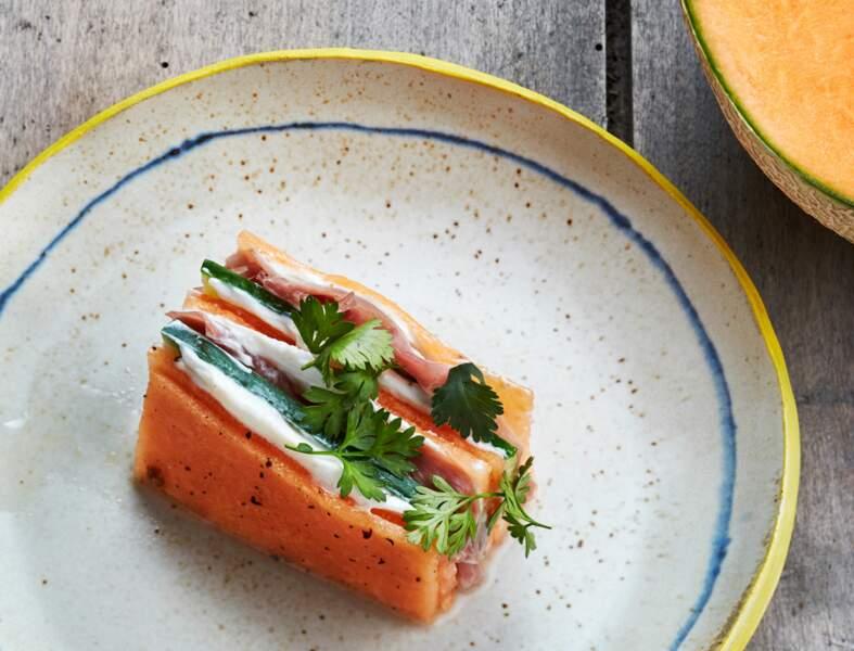 Melon du Haut-Poitou et concombre en pickles, jambon sec et chèvre frais