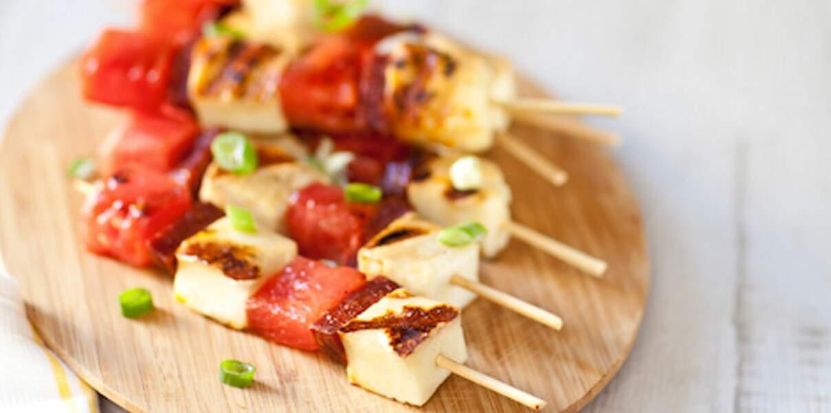 Brochettes de Grillis, chorizo et pastèque