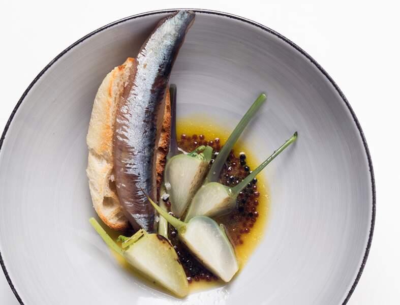 Chou-rave, sardine fumée, billes anchois et truffe, bouillon pot au feu, pain cristal