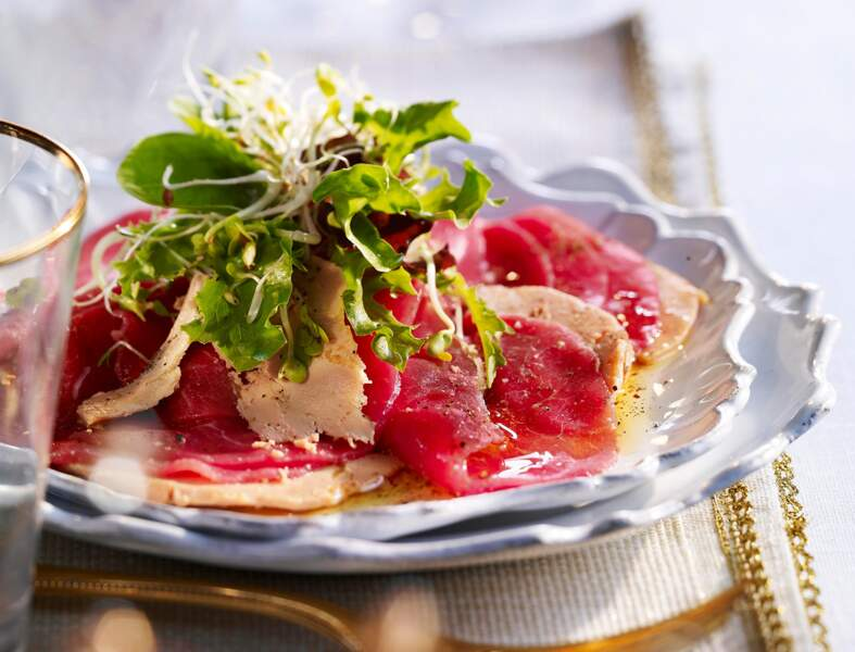 Carpaccio de boeuf au foie gras