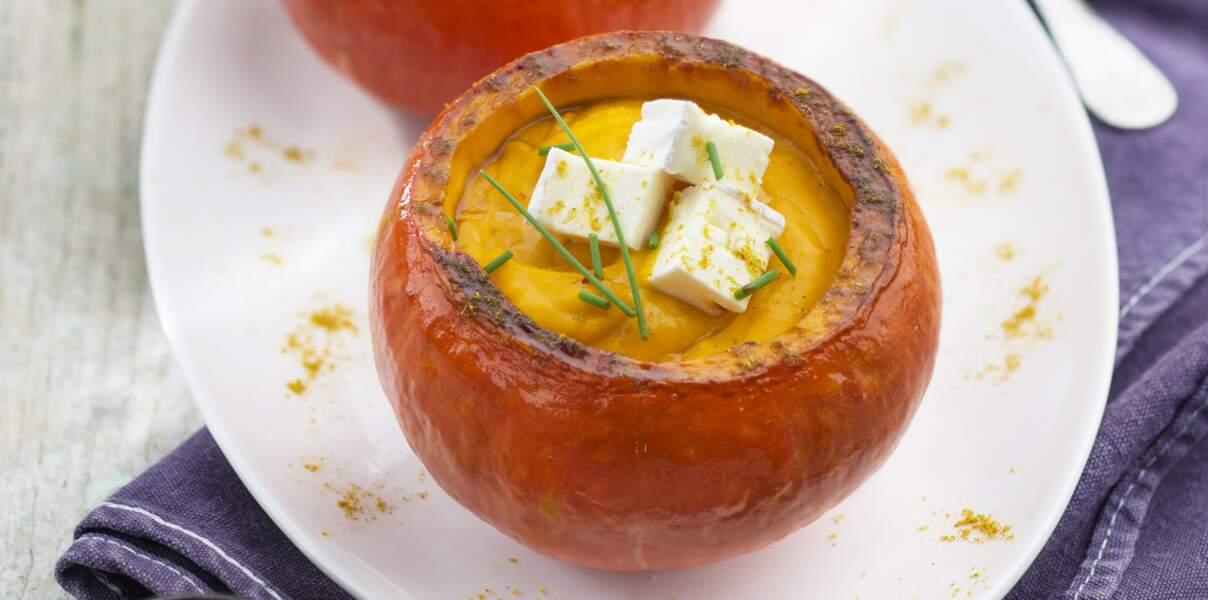 Velouté de potimaron, curry et Caprice des Dieux