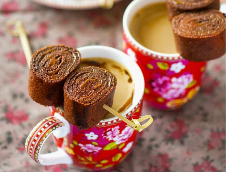 Roulés de crêpes au chocolat, crème de spéculoos