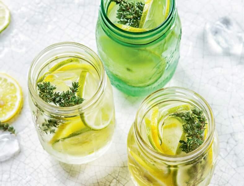 Eau détox citron, citron vert et thym