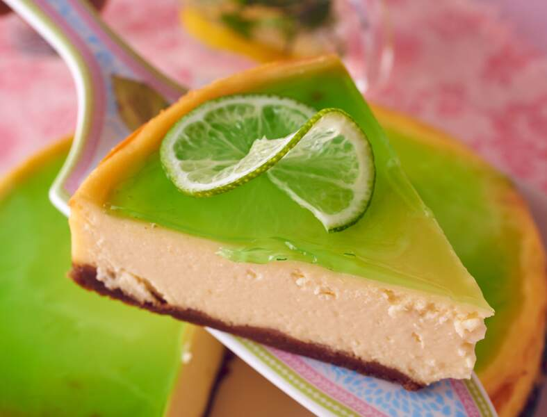 Cheesecake au chocolat blanc, citron vert et basilic